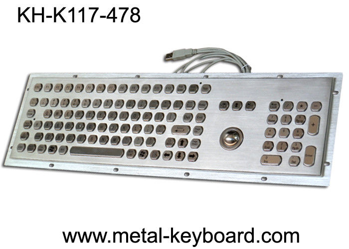 Stainless steel Industrial Computer Keyboard with Trackball , Dust Proof Keyboard