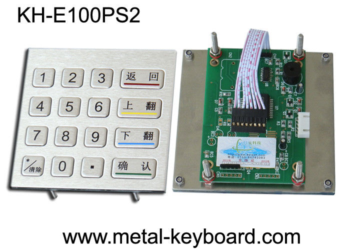 Anti - vandal Stainless steel panel mount Keypad , Metal Digital keypad