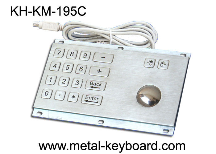 Rugged Stainless Steel Panel Mount Keyboard with Trackball IP65 Rate Dustproof