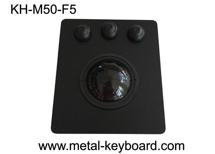 50mm Black Panel Mount Trackball High Sensitivity PS/2 / USB Interface OEM/ODM Avaliable