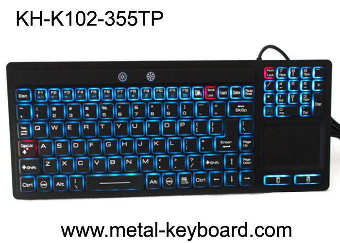 Touchpad Backlit Industrial Computer Keyboard Rubber Silicone For Ruggedized Computer